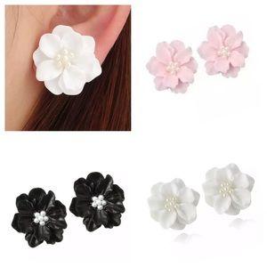 Beautiful Camellia Earrings - White, Pink or Black